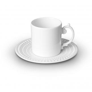 L Objet Perle White Espresso Cup Saucer