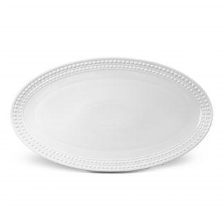 L Objet Perle White Oval Platter Large