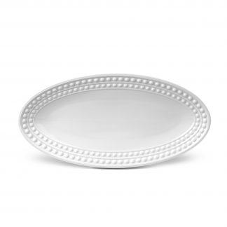 L Objet Perle White Oval Platter Small