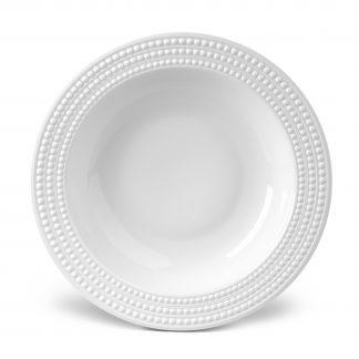 L Objet Perle White Rimmed Serving Bowl
