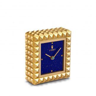 L Objet Pyramide Clock Gold Lapis