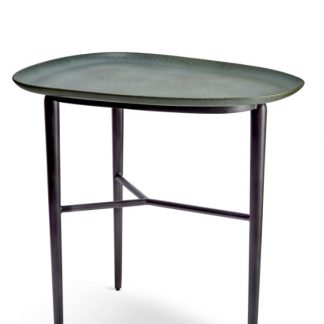 L Objet Tulum Surf Side Table With Metal Base Green