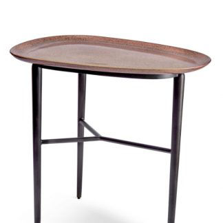 L Objet Tulum Surf Side Table With Metal Base Pink