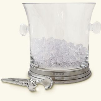 Match  Crystal Ice Bucket With Handles And Tongs Set