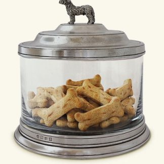 Match  Glass Cookie Jar With Dog Finial