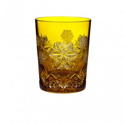 Waterford  2014 Snowflake Wishes For Peace Mooncoin Amber Prestige Double Old Fashioned