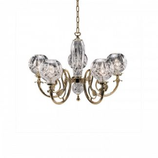 Waterford Lismore 5-Arm Polished Brass Finish Chandelier